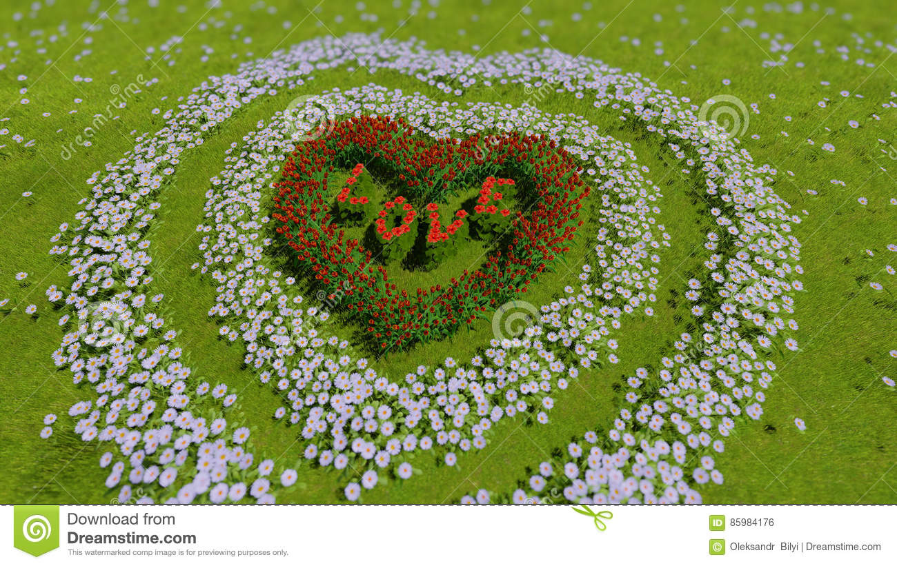 A Variety Of Flowers In The Shape Of A Heart On A Green Field As A