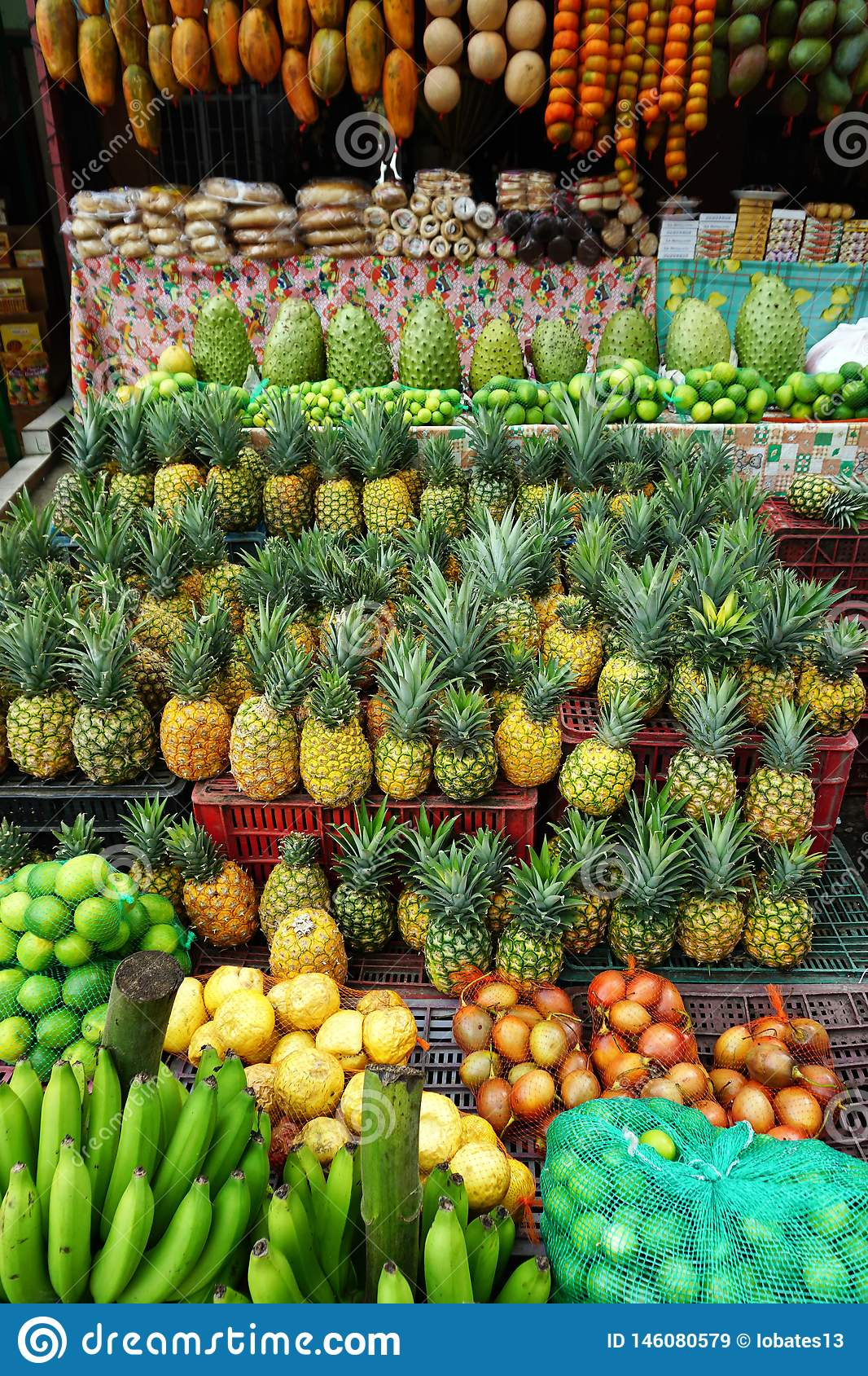 Variety of Fresh Fruit to Sell in Market in Santander, Colombia