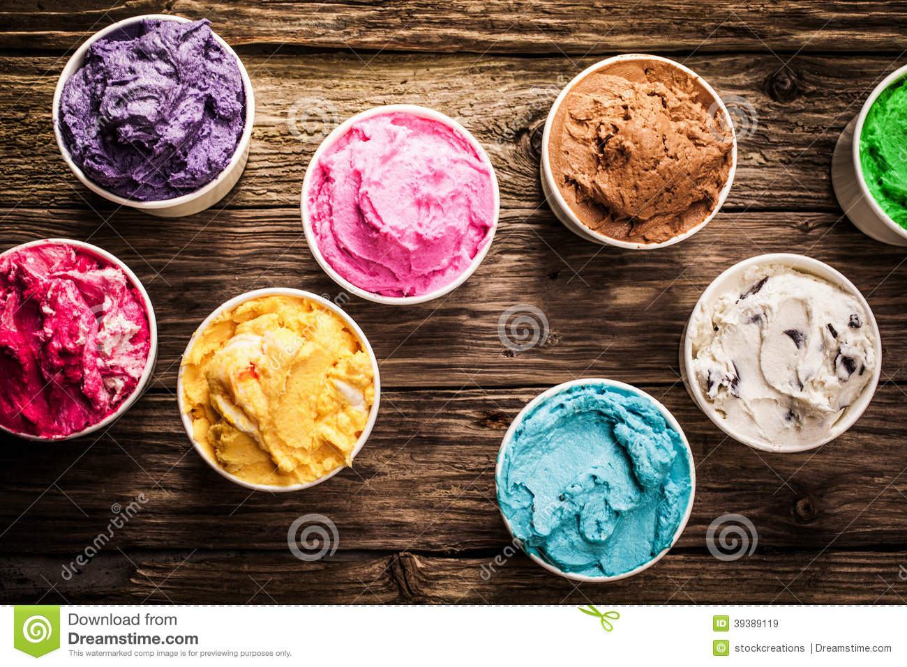 Variety of gourmet flavours of Italian ice cream