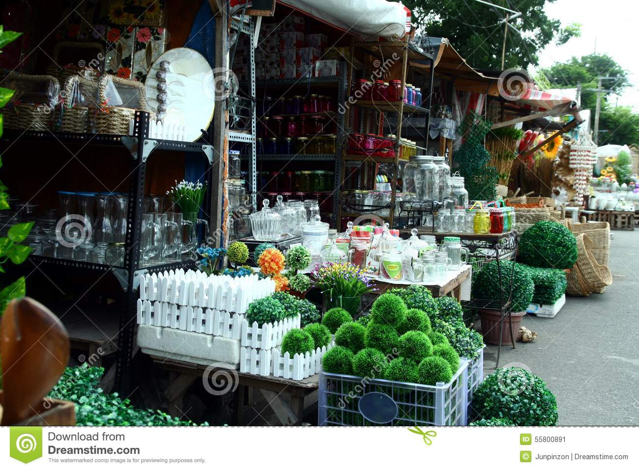 Variety of home decoration and ornaments sold at a store for In home decor products