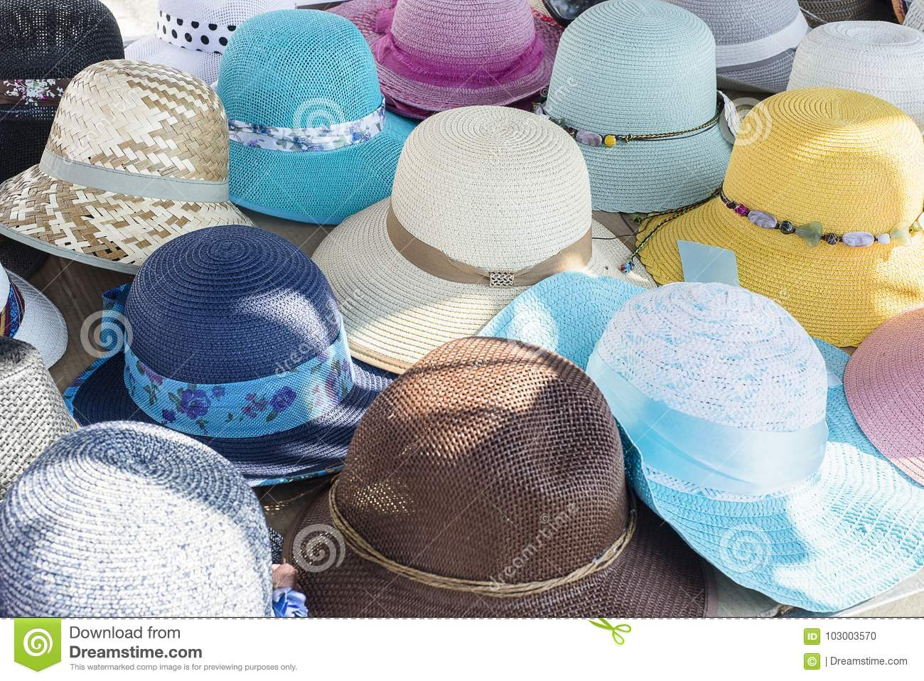 Ladies Colourful Summer Hats Stock Photo - Image of display ... c10678b3837