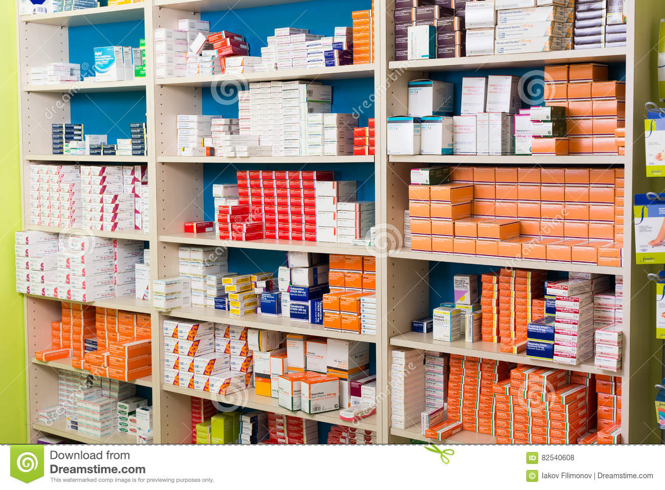 Pharmaceutical Storage Cabinets Variety Of Pharmaceutical Products And Medicine In Shelves