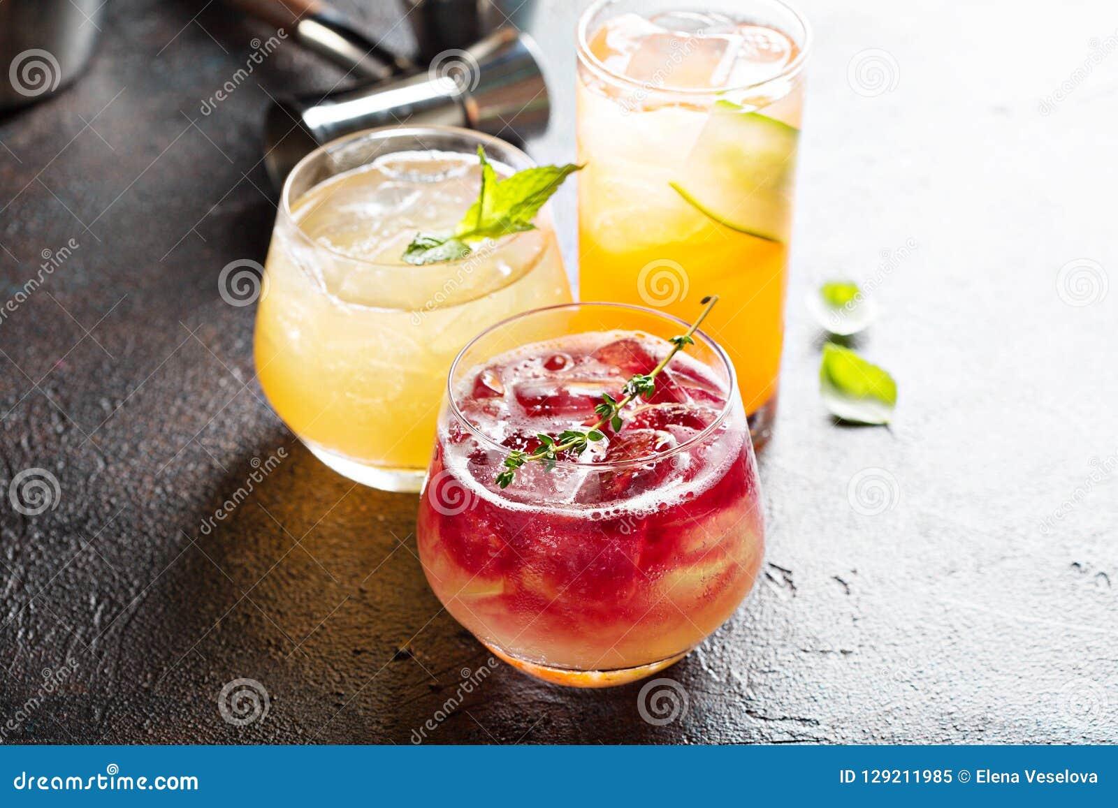 Variety of seasonal cocktails