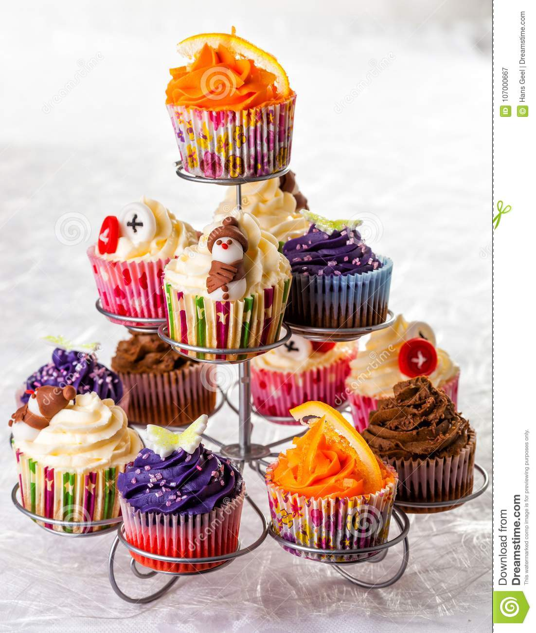 Variety Of Seasonal Cupcakes Placed On A Stand Stock Image Image