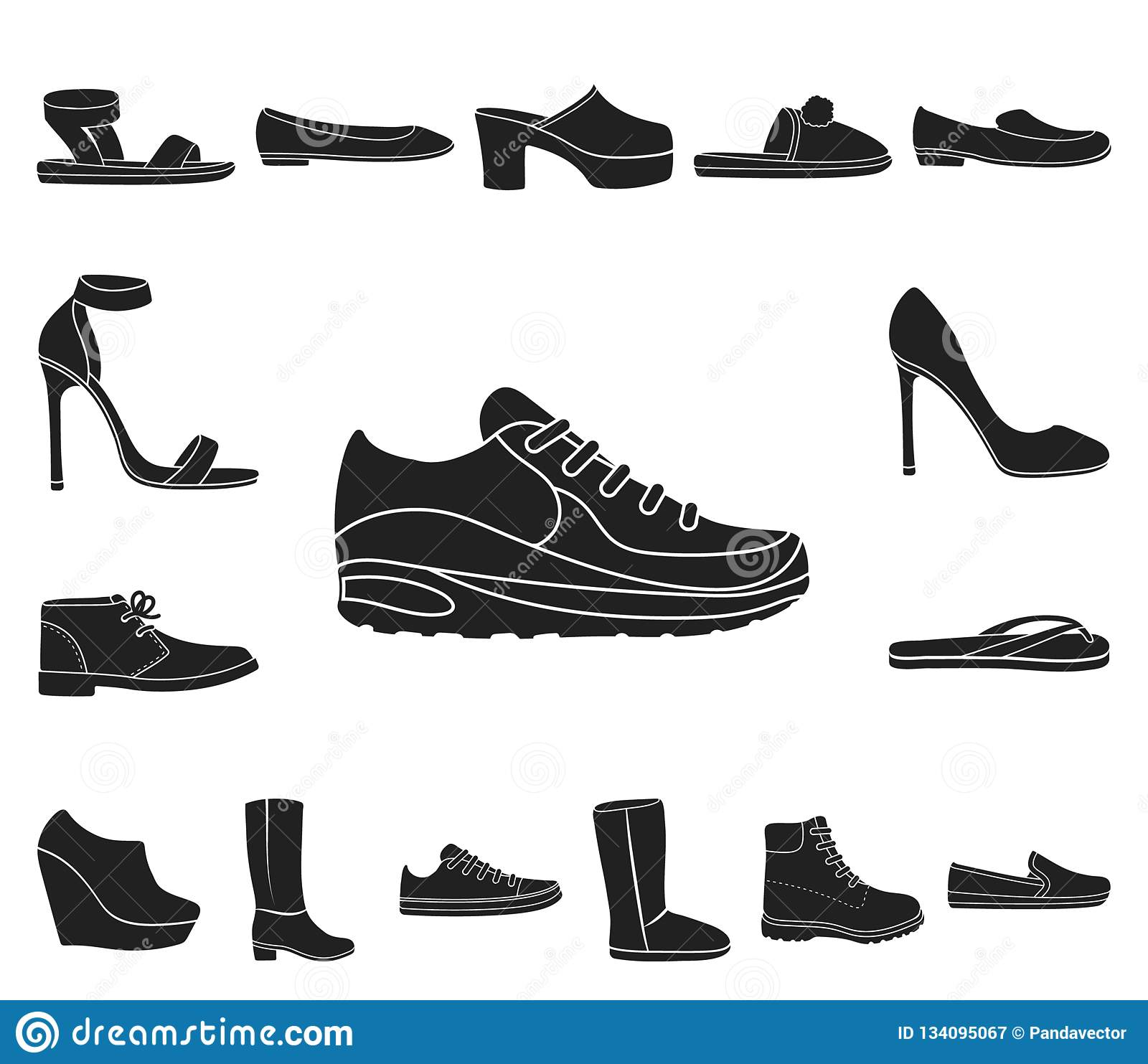 43c34952925e A variety of shoes black icons in set collection for design. Boot, sneakers  vector
