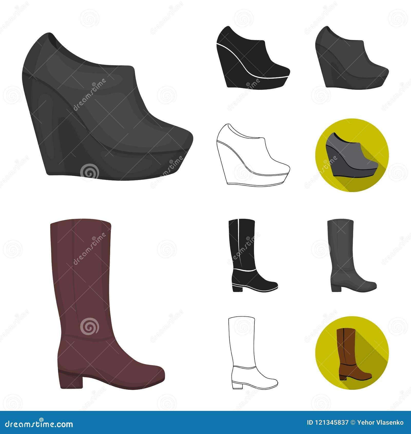 A Variety Of Shoes Cartoon,black,flat