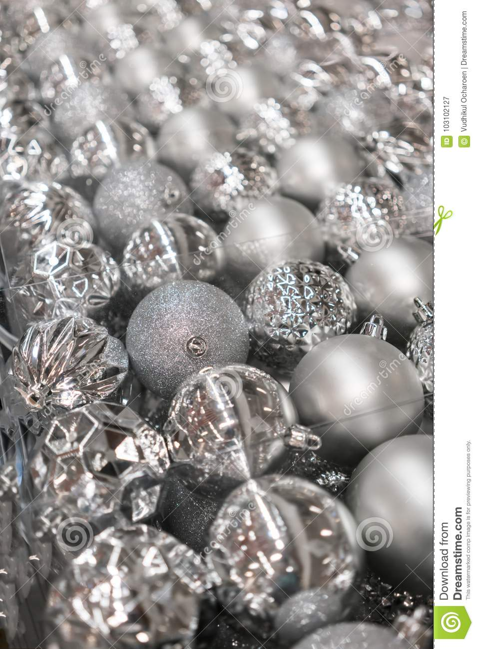 variety of silver christmas balls in clear transparent plastic p - Plastic Christmas Balls