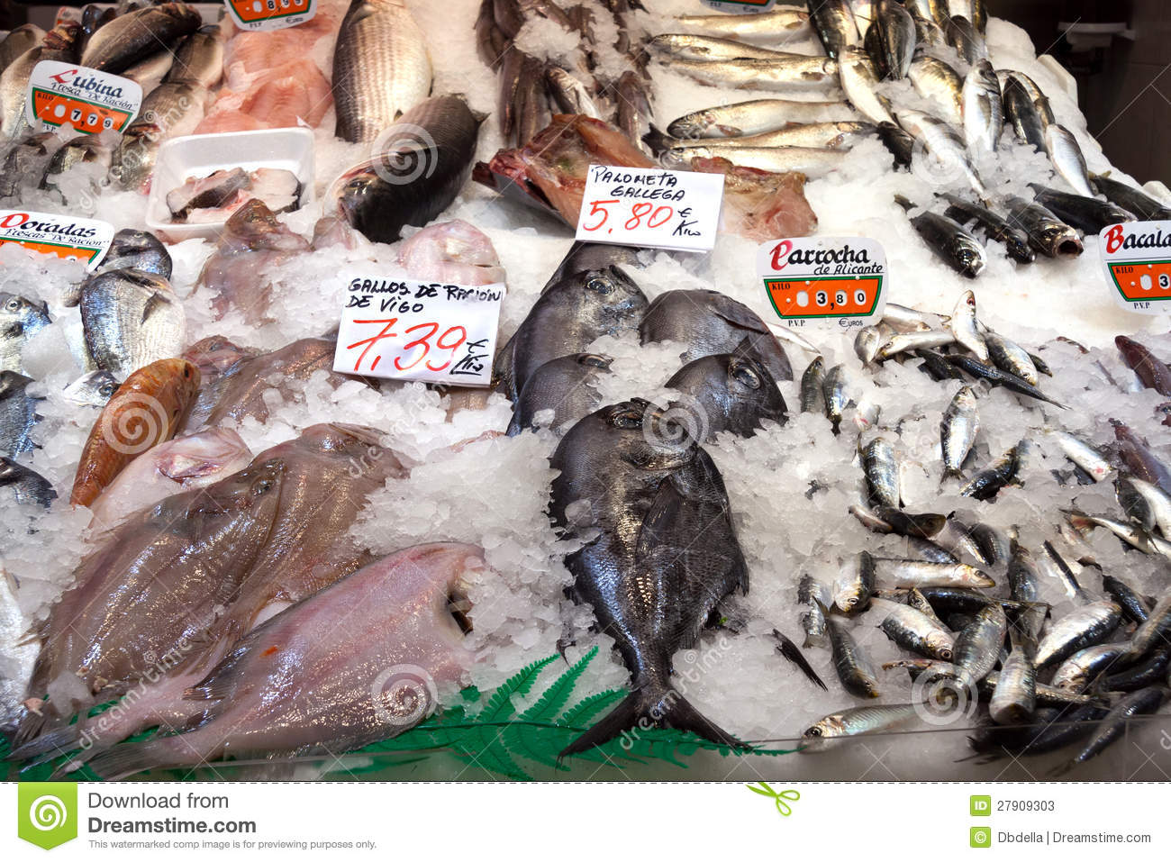 A variety of spanish fish on a fishmonger stall stock for Fish in spanish