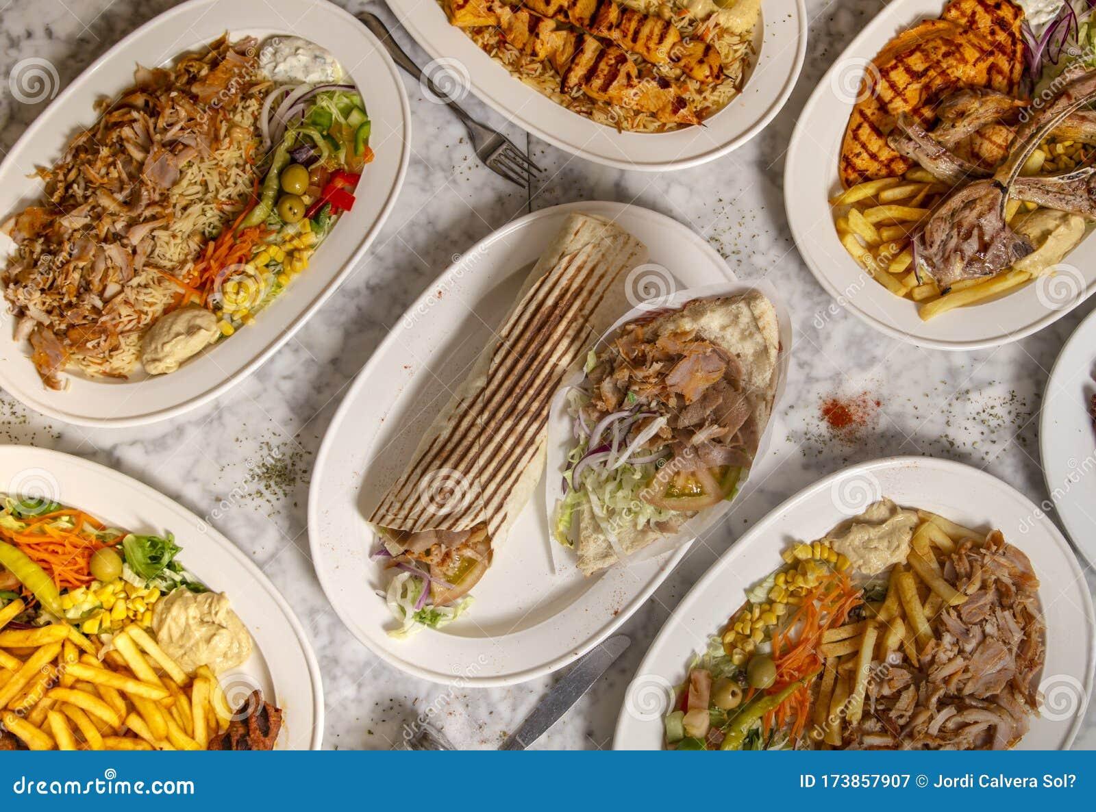 Variety Of Typical Turkish Dishes Restaurant Menu Durum Donner Kebab Salad And Chips Stock Image Image Of Dark Assortment 173857907