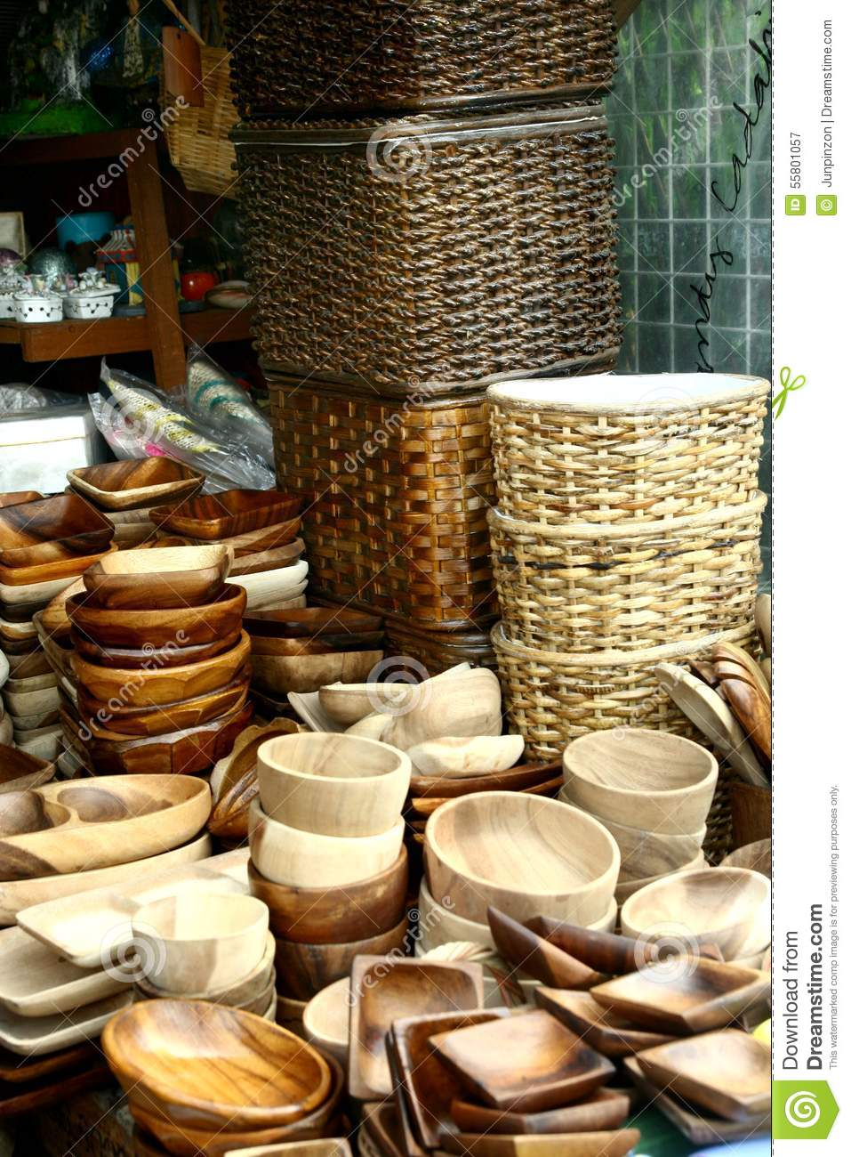Variety Of Wood Products Sold At A Store In Dapitan Arcade