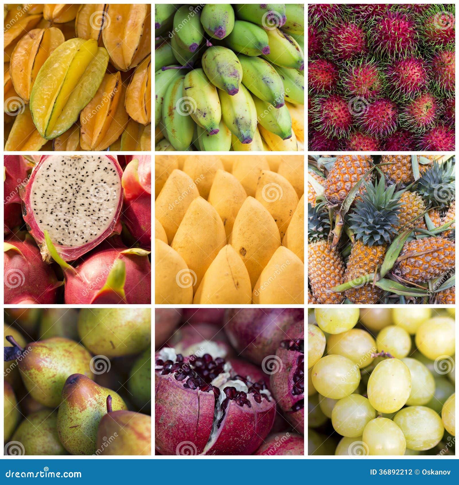 Download Vario collage di frutti fotografia stock. Immagine di vario - 36892212