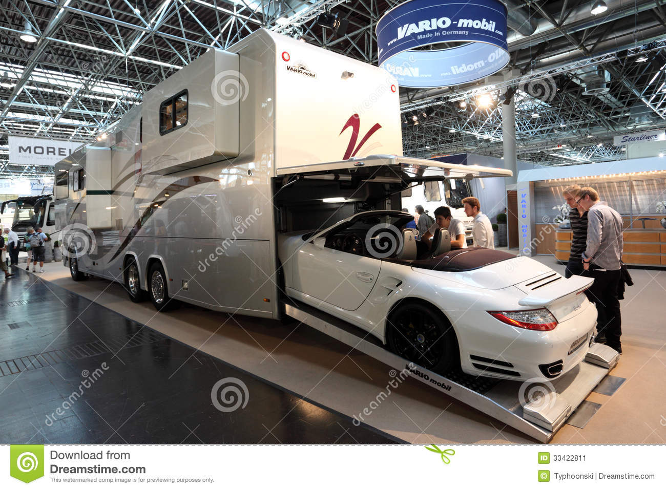 Vario mobil rv with built in garage editorial photo for Salon de dusseldorf camping car