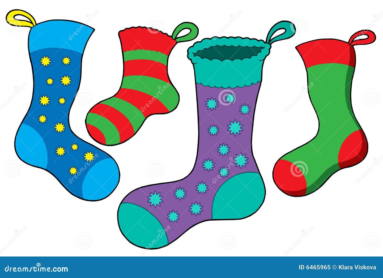 Varios calcetines de la Navidad