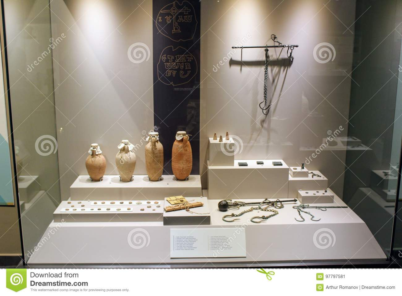 Various antique exhibits from the Alanya Archaeological Museum collection Turkey
