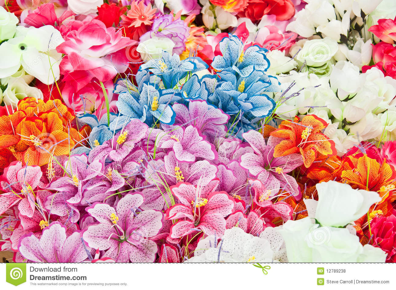 various artificial flowers for sale at flea market royalty free stock photos image 12789238. Black Bedroom Furniture Sets. Home Design Ideas