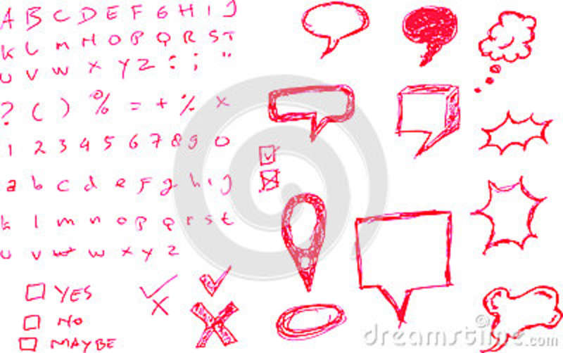 various bubble chat with letter and numbers stock vector
