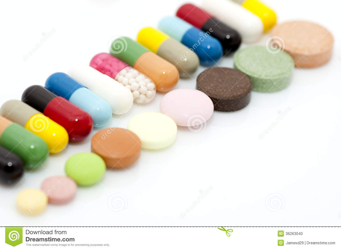 Various Capsules And Tablets In Row Stock Photo - Image: 36263040