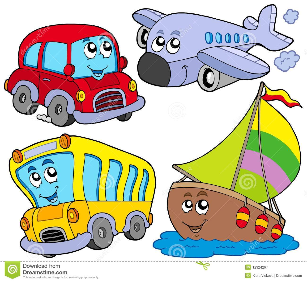Various cartoon vehicles stock vector. Image of flying - 12324267