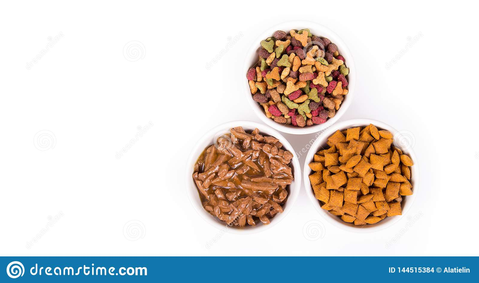 Various cat food. Dry and wet cat food. Copy space. Treats for cats