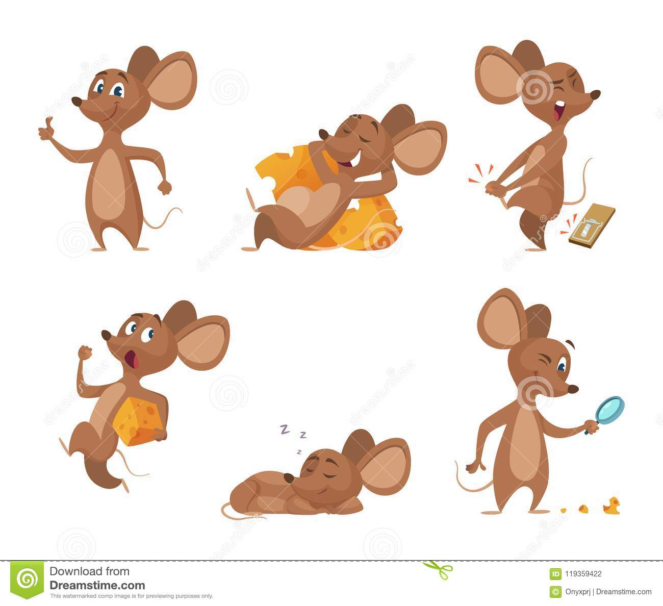 various characters of mice in action poses stock vector
