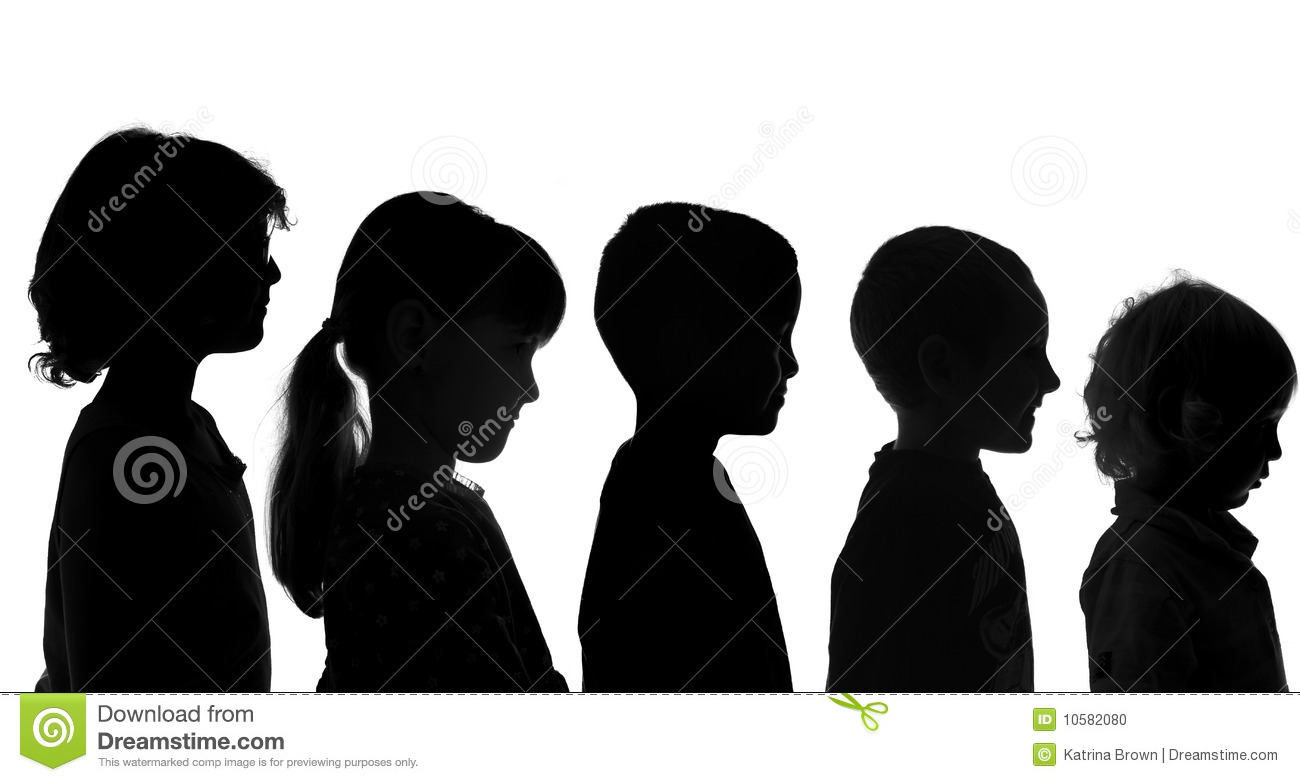 Various Children Shot in Silhouette Style