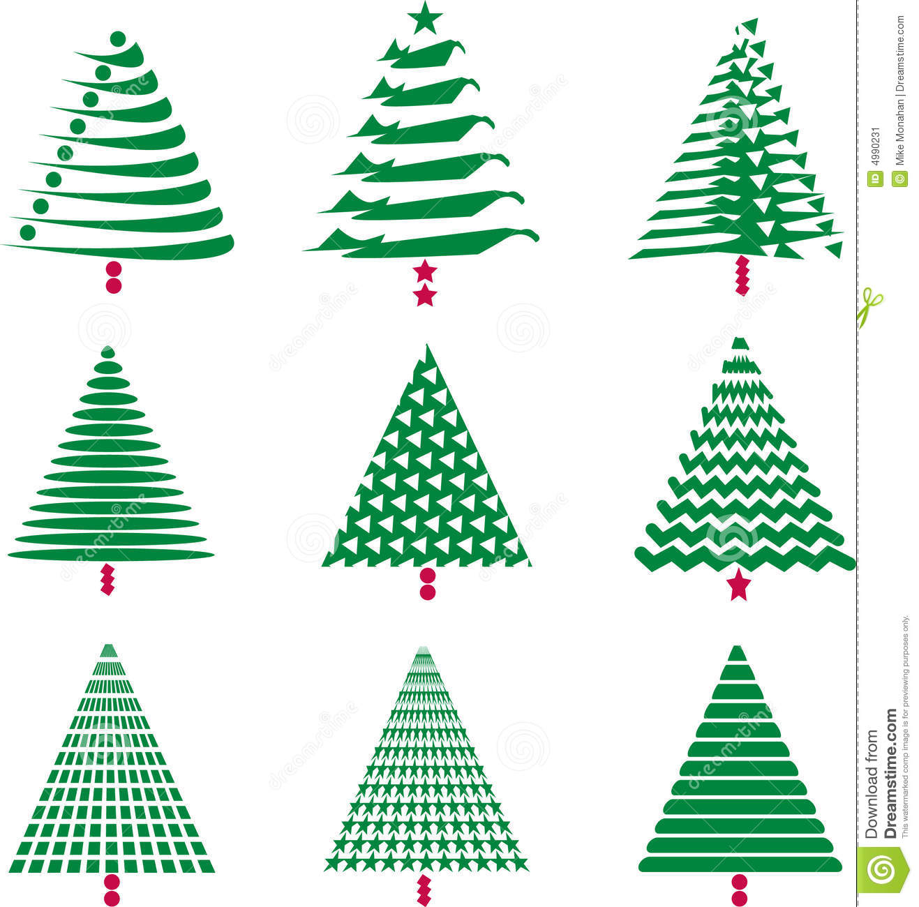 Various Christmas Tree Designs Stock Image Image 4990231