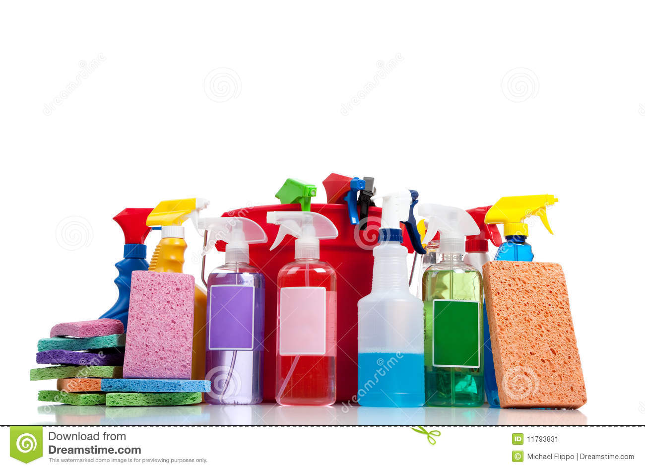 Various Cleaning Supplies On A White Background Stock