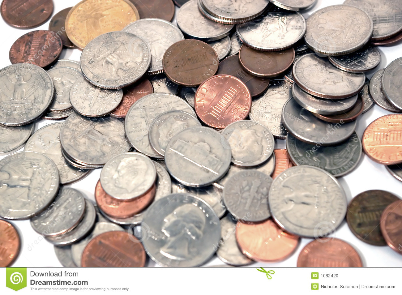 Various Coins And Change Stock Photo - Image: 1082420