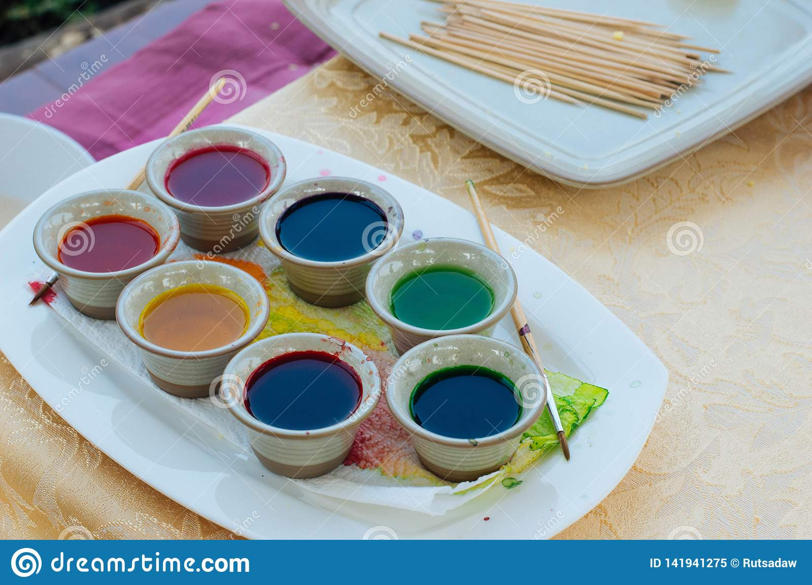 Colorful water color palette for art
