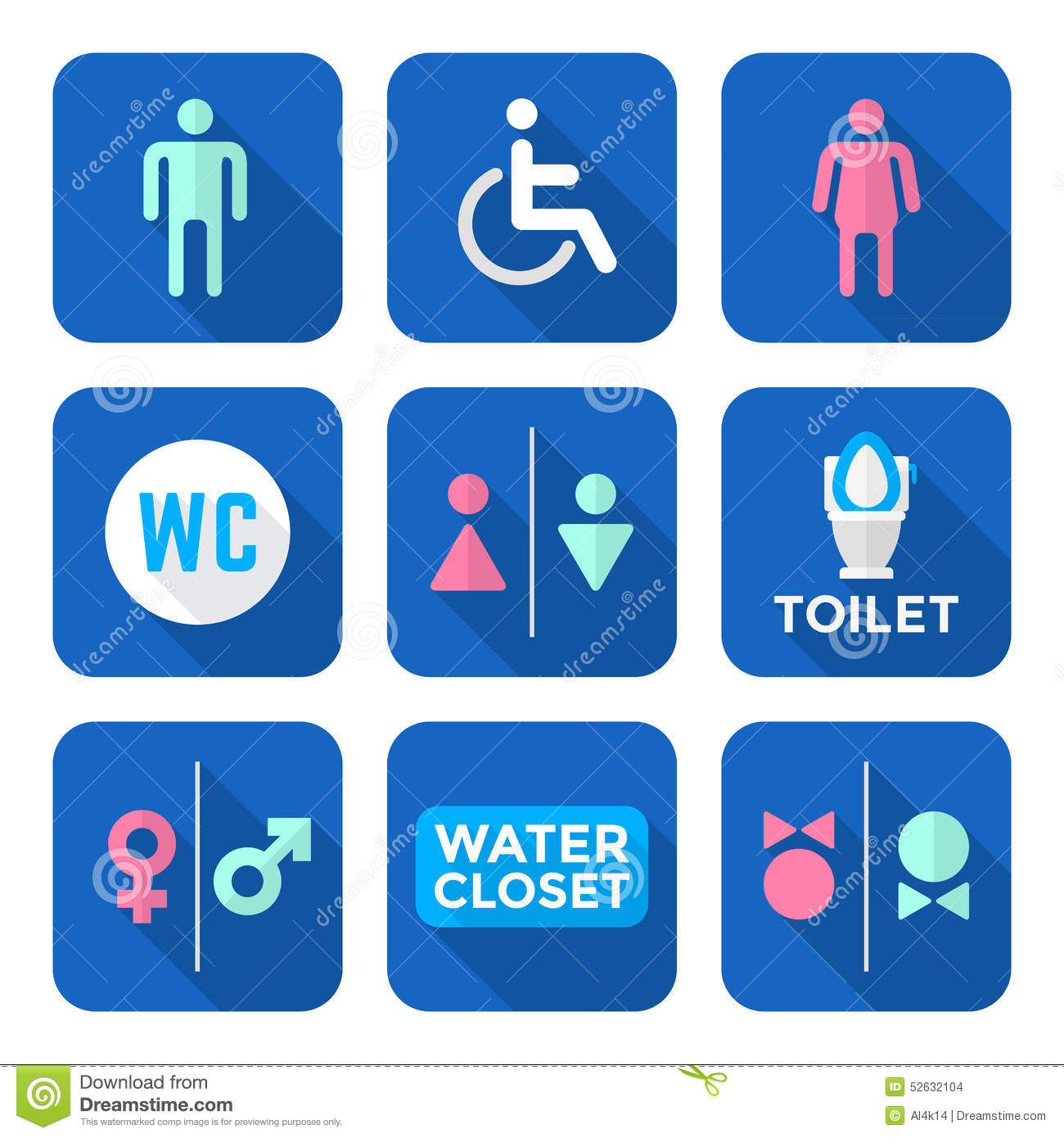 Various Colorful Flat Style Water Closet Signs Toilet Restroom I ...