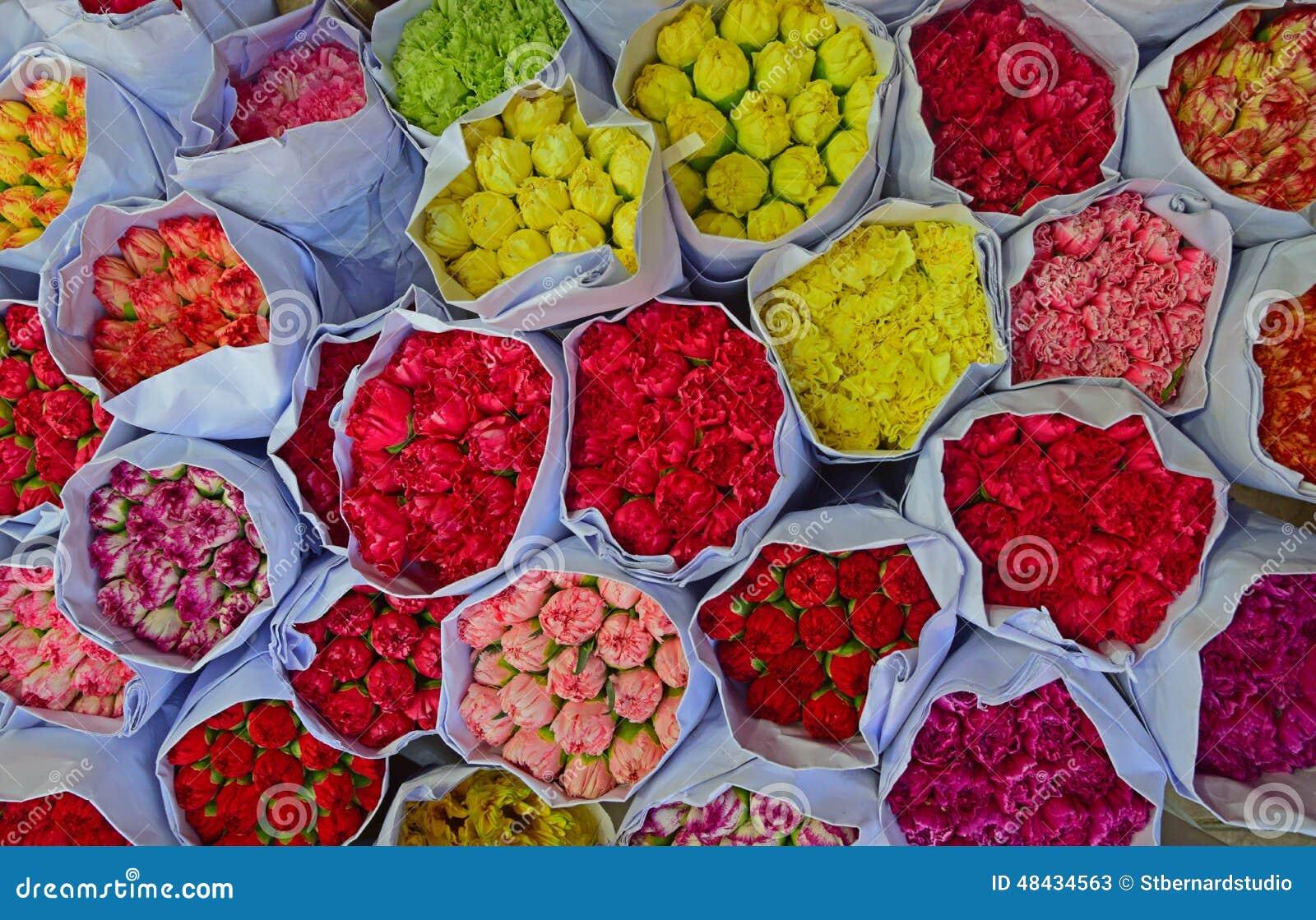 Various Colour Carnation Flowers In Bulk At Flower Market Stock Im