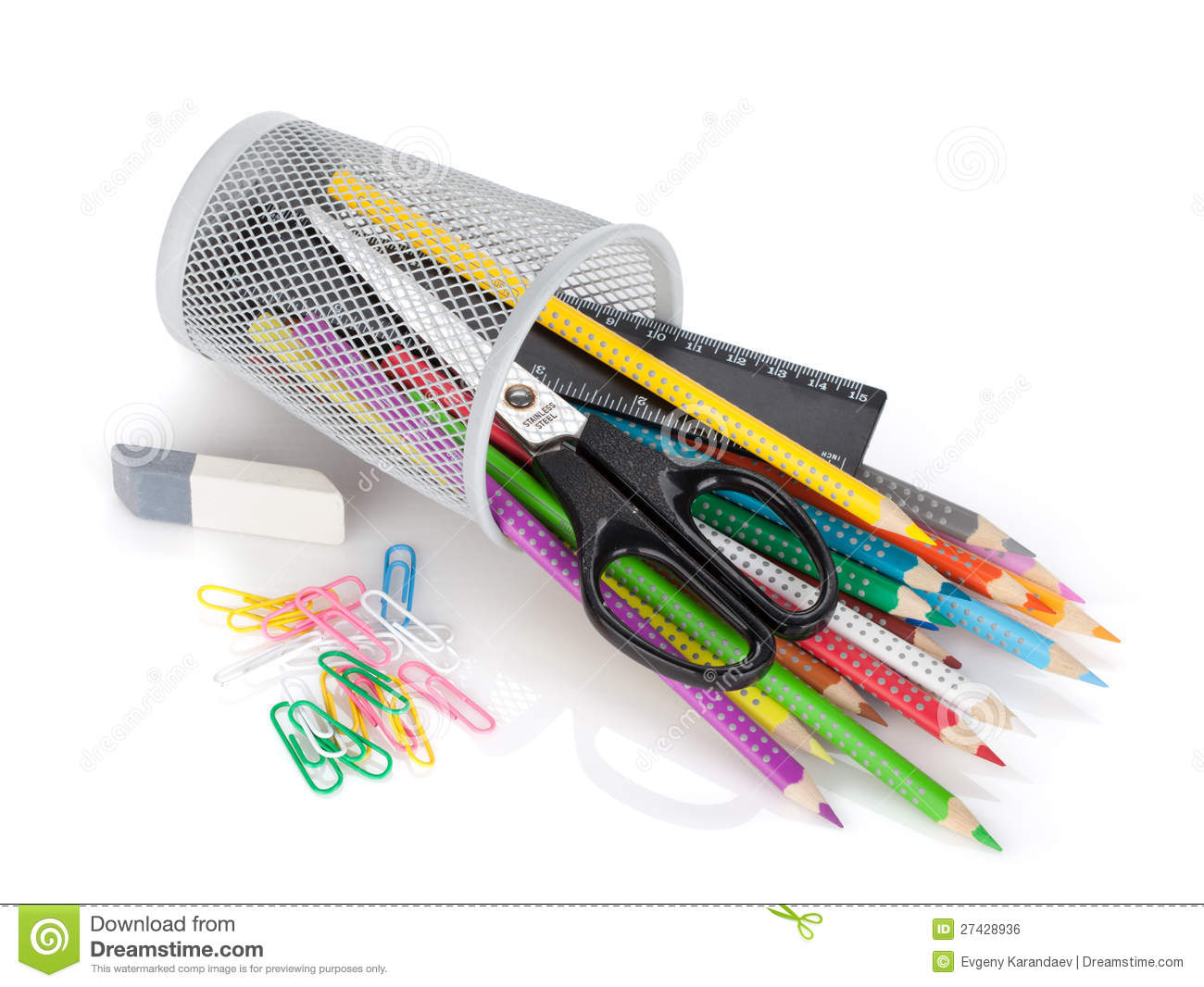 Download Various Colour Pencils And Office Tools Stock Photo - Image of close, bright: 27428936
