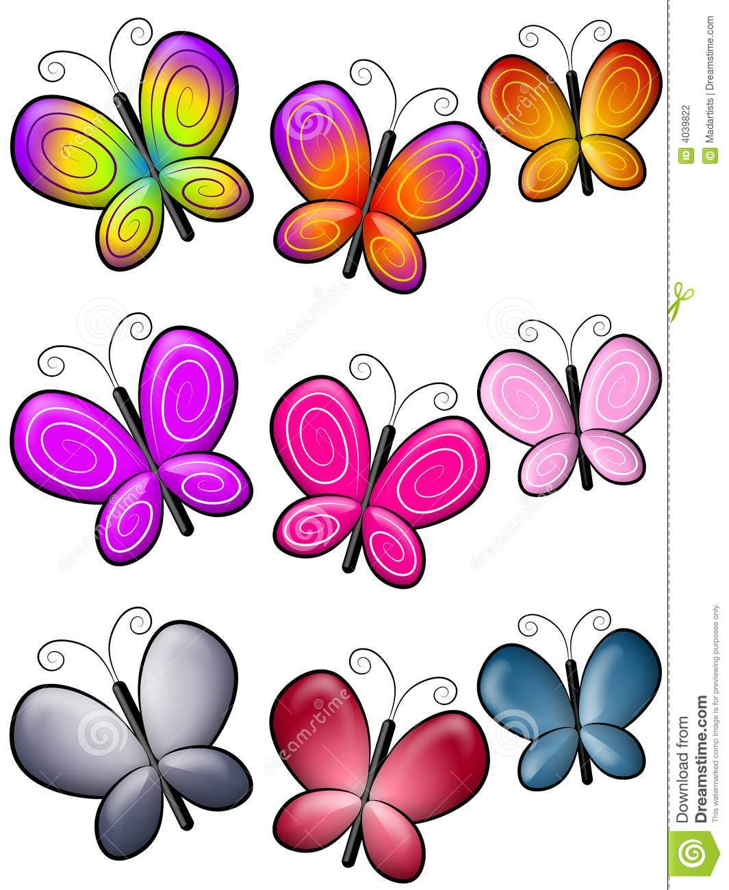 various colourful butterflies clip art stock illustration rh dreamstime com clipart of butterflies black and white clipart of butterfly with eyes