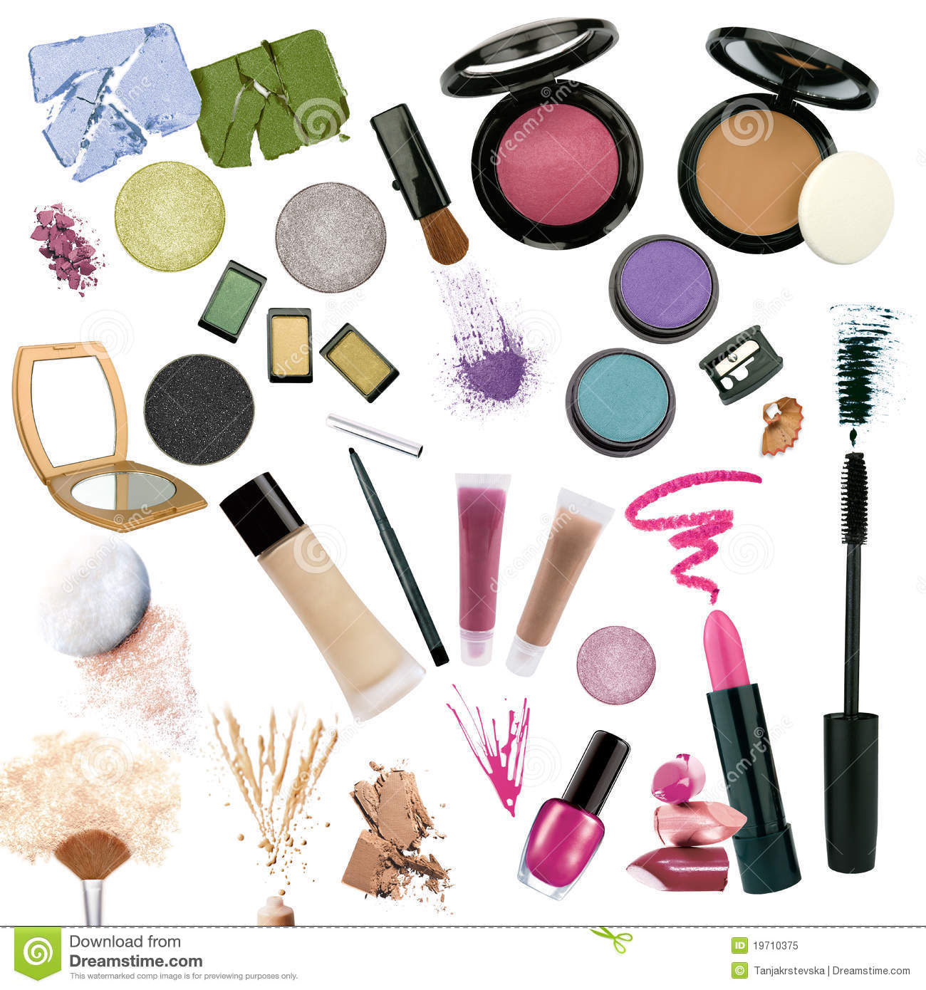Various Cosmetics Isolated On White Background Royalty