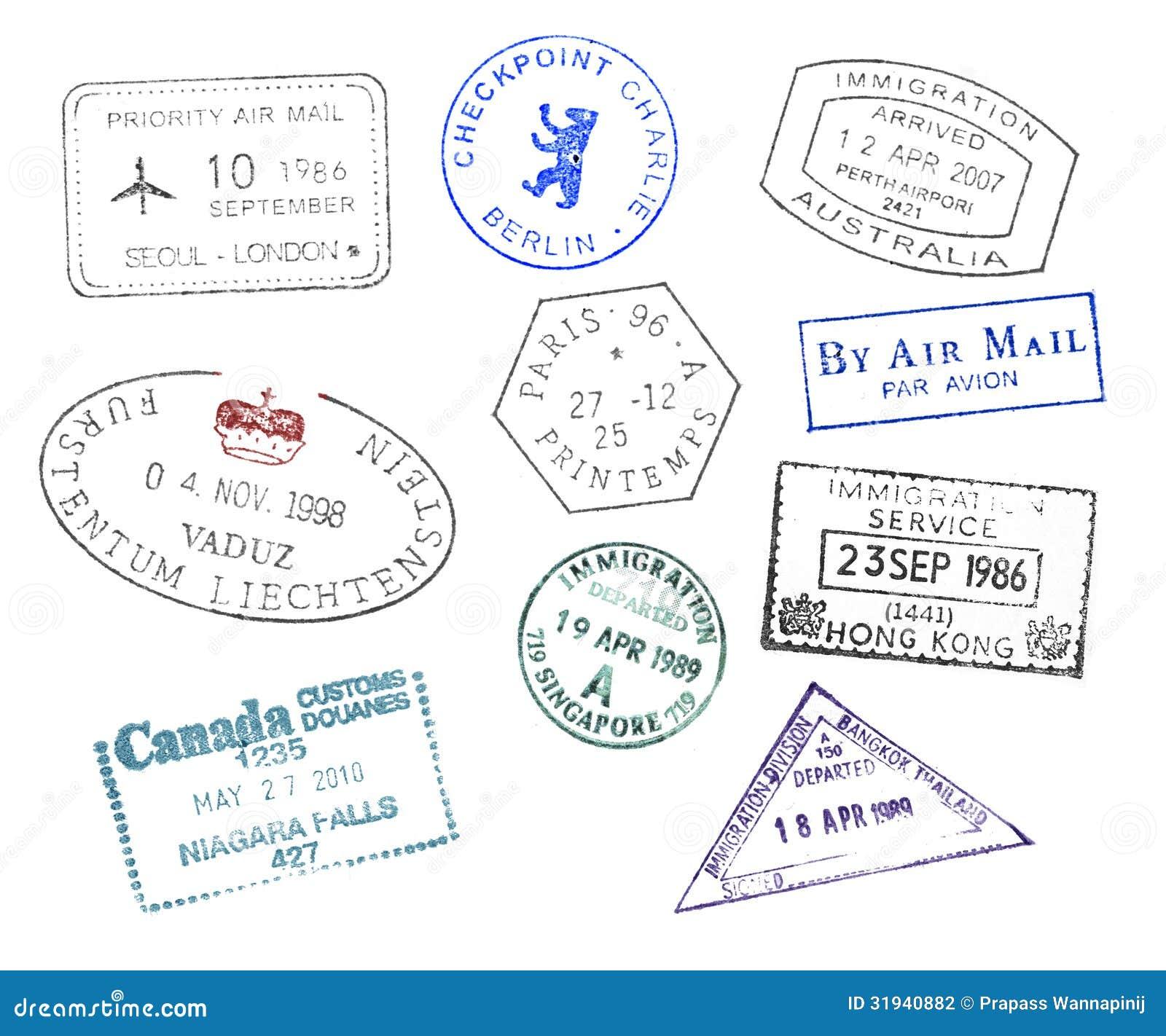 Various Countries Passport Stamps