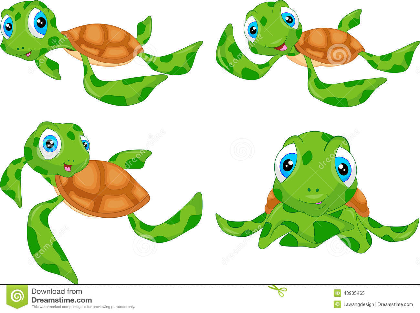 various cute sea turtle cartoon stock vector