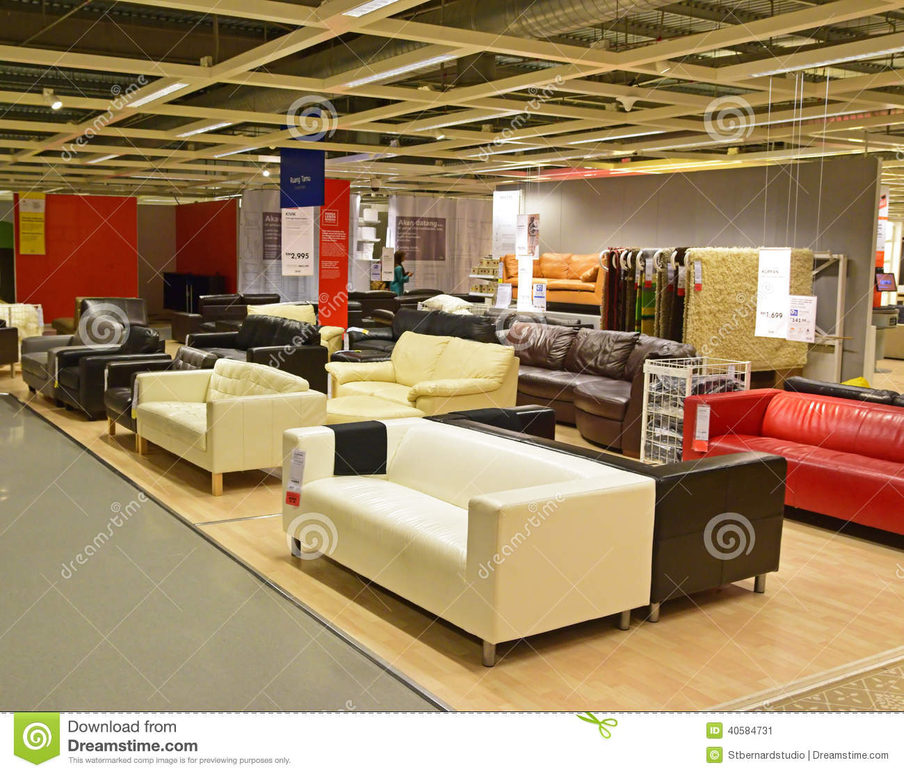 Sofa Winkel various design and color for sofa in local ikea shop editorial photo