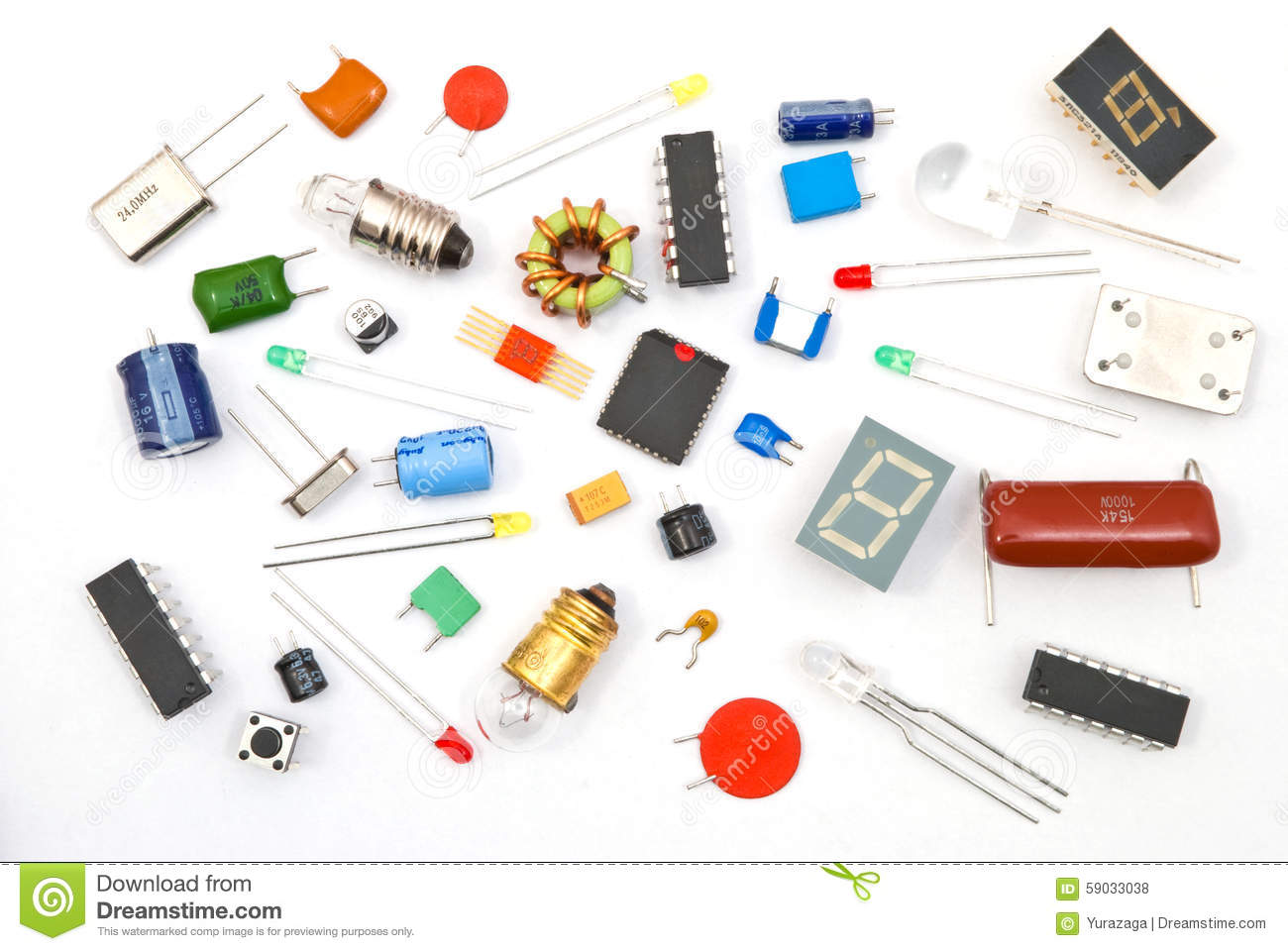 electronic components Electronic components are basic electronic element or electronic parts usually packaged in a discrete form with two or more connecting leads or metallic pads.