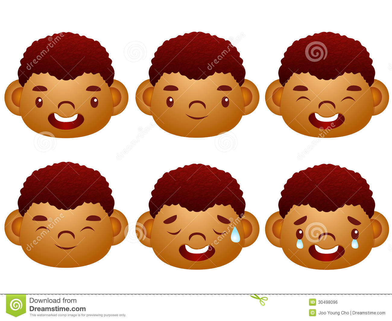 Various Facial Expressions Of Kids Emotion Character