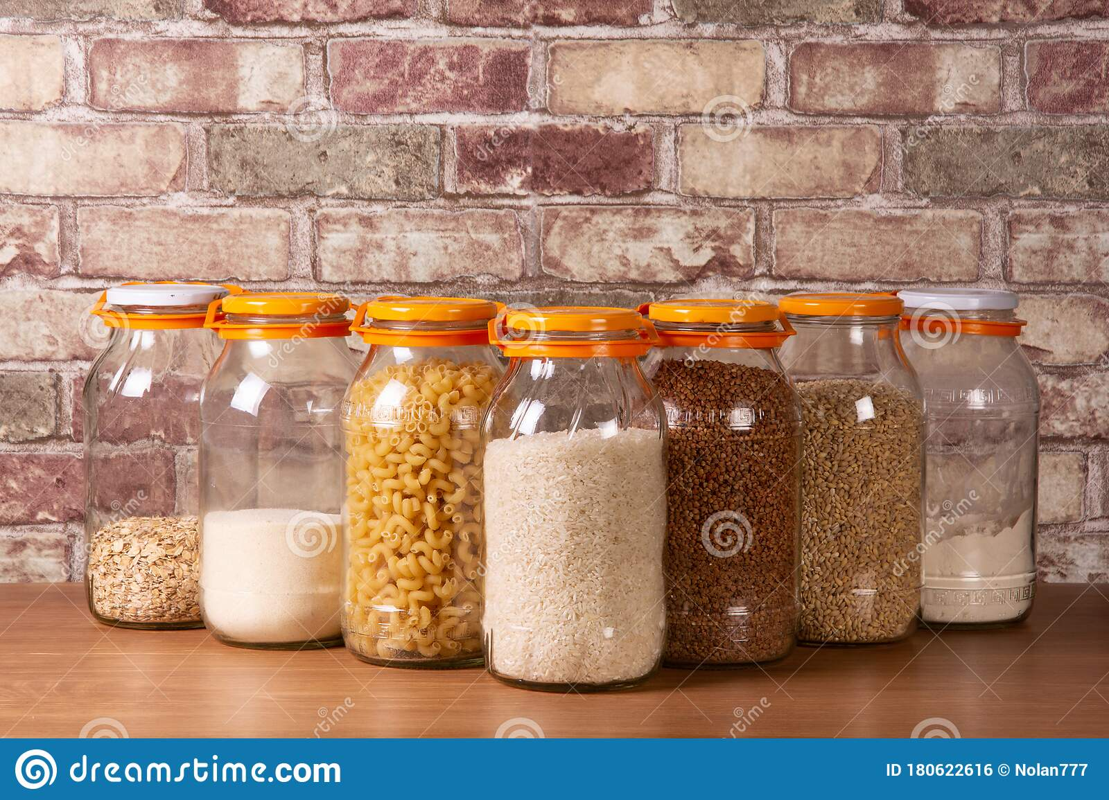 Various Food Storage Shelves In Glass Jars Stock Photo Image Of Store Tasty 180622616