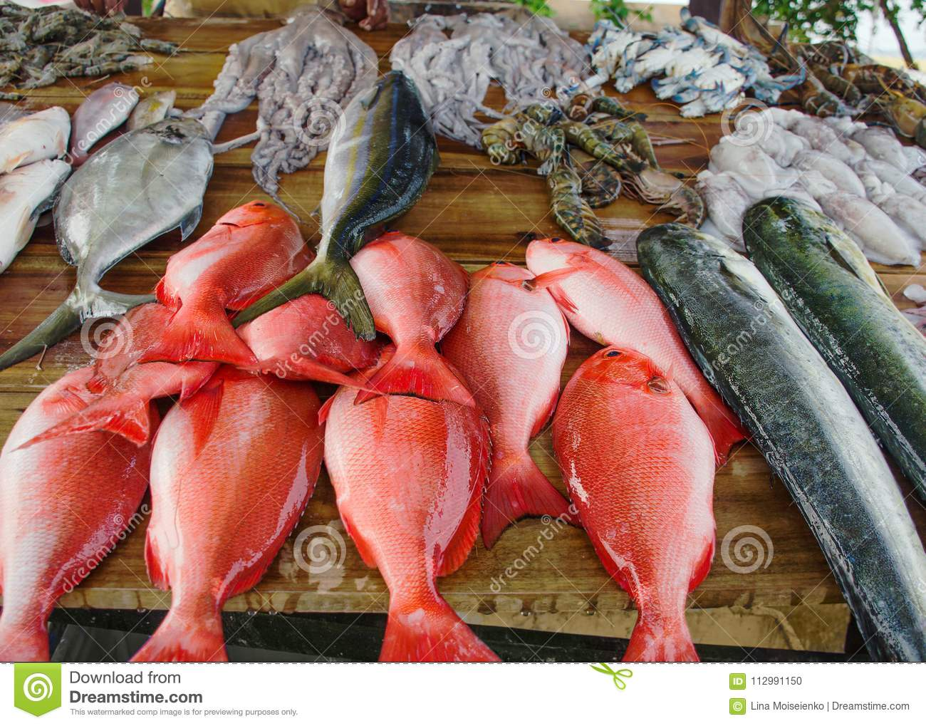 Various freshly caught fish on wooden counter.