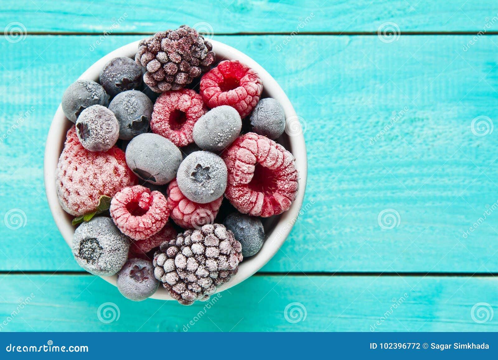 Bowl of frozen berries. Frozen berries