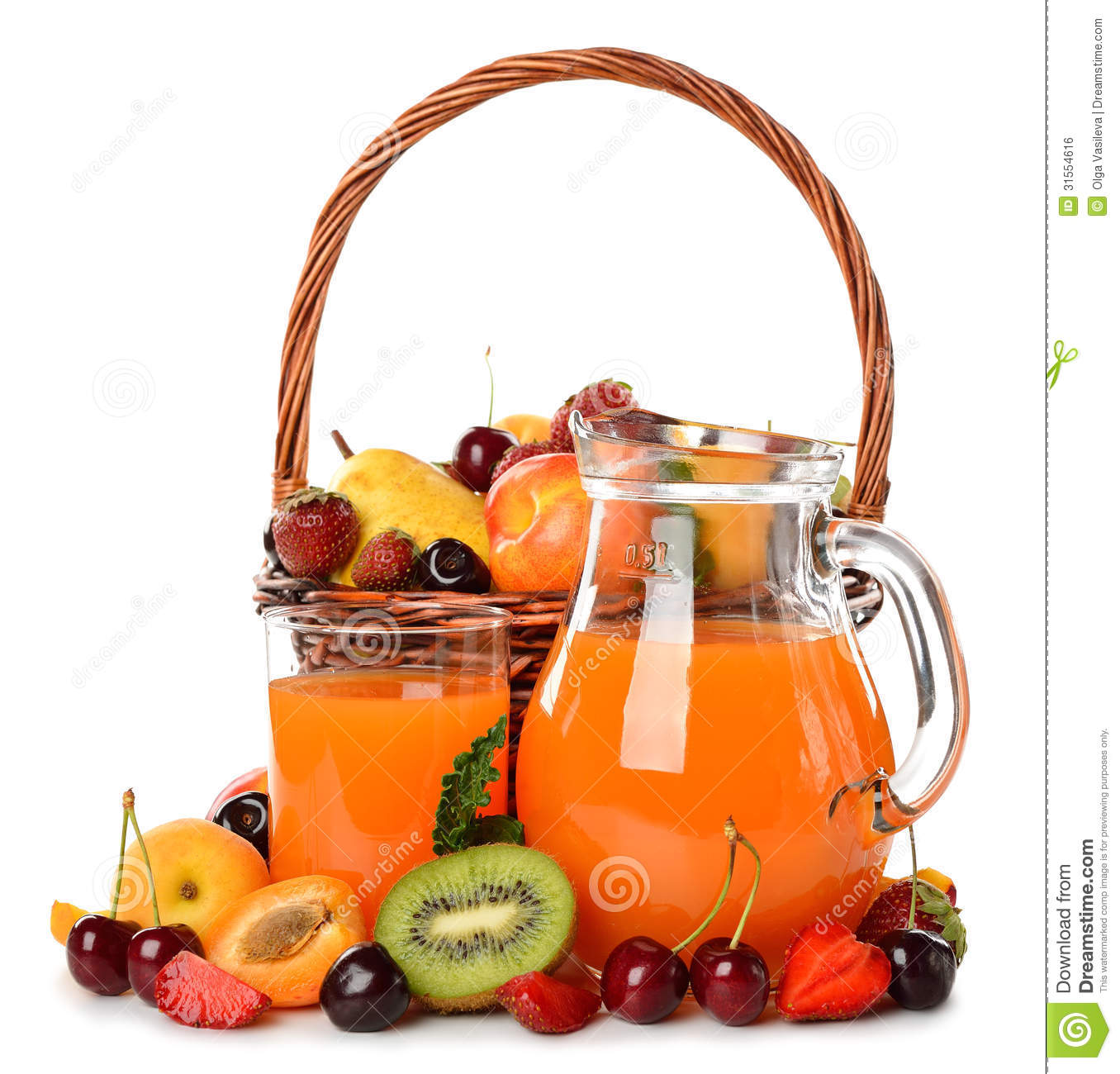 Various Fruit In A Brown Basket And Juice Stock Photo ...