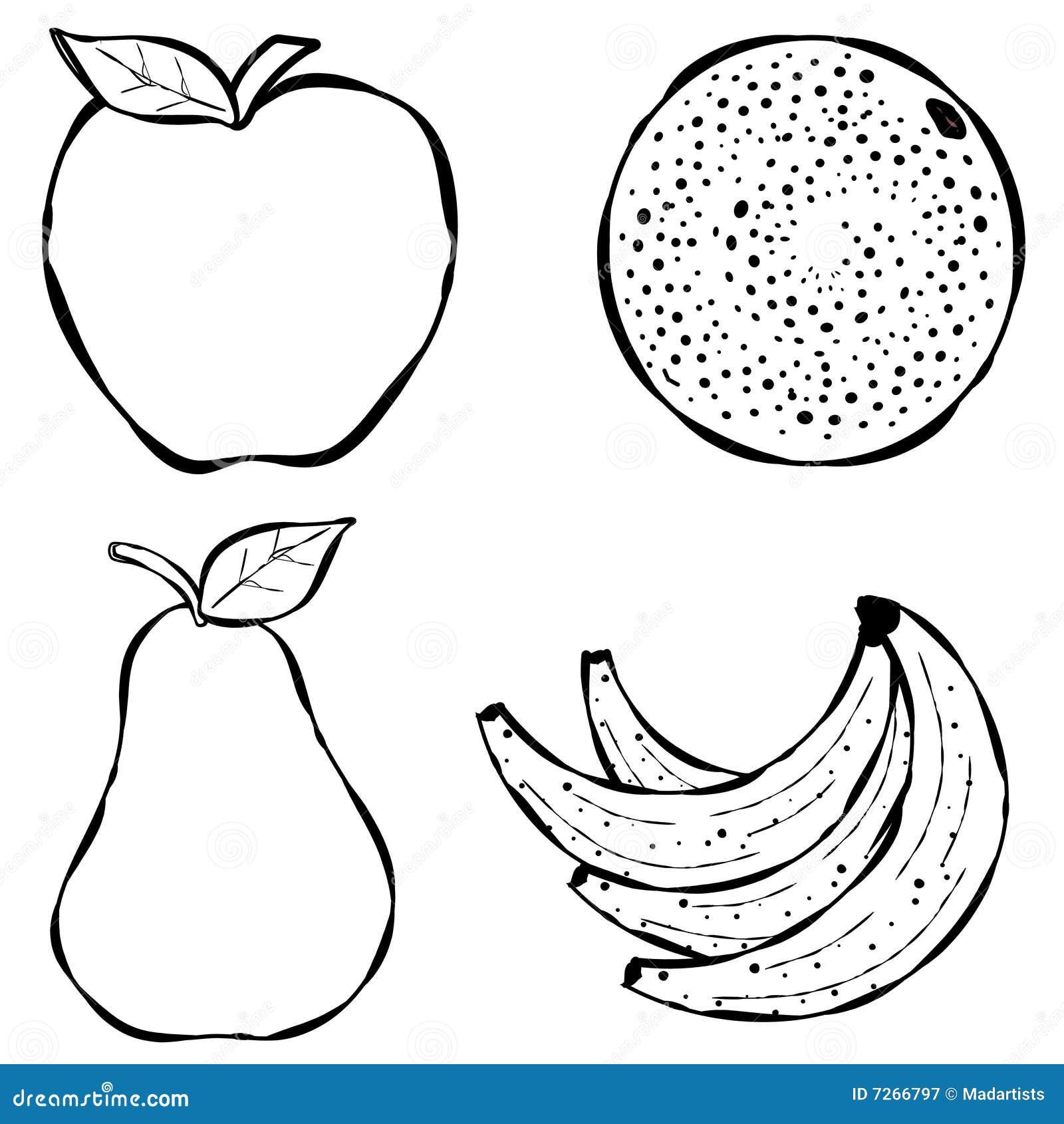 Line Art Fruits : Various fruit line art stock illustration of