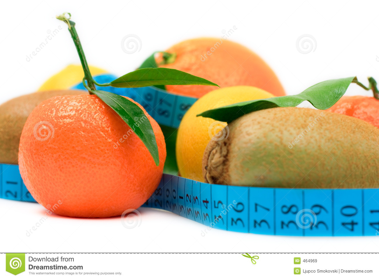 Various fruit and a tape
