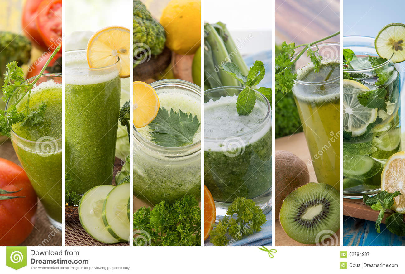 Various green color juices from mix tropical fruit