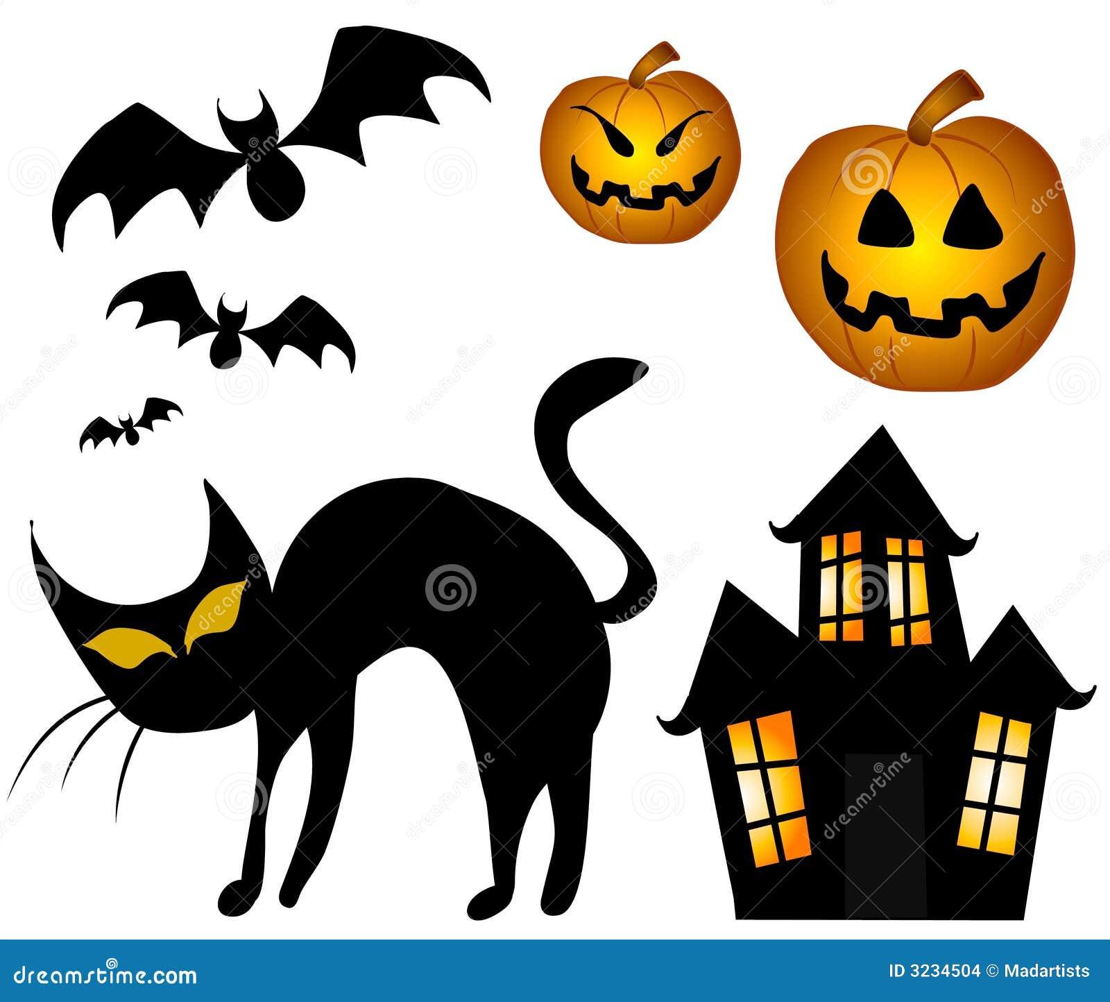 Halloween Cat Pumpkins Haunted House Stock Photos - Image: 33481163