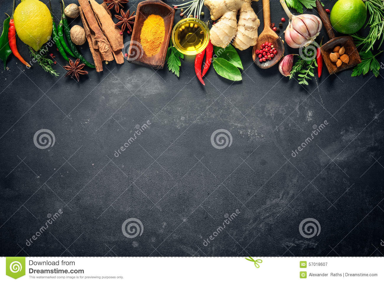 Various herbs and spices