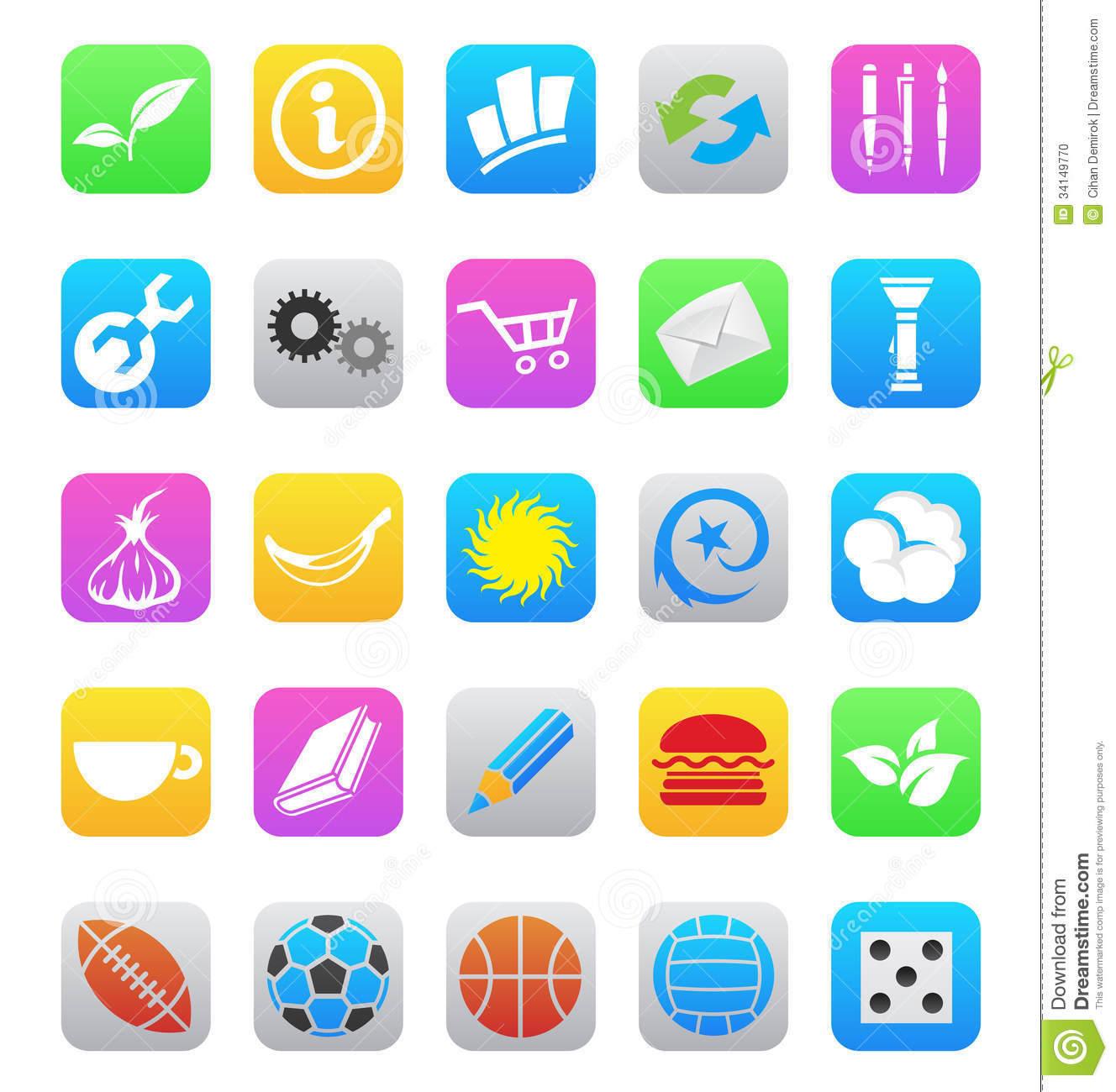 Various Ios 7 Style Mobile App Icons Isolated On A Stock ...