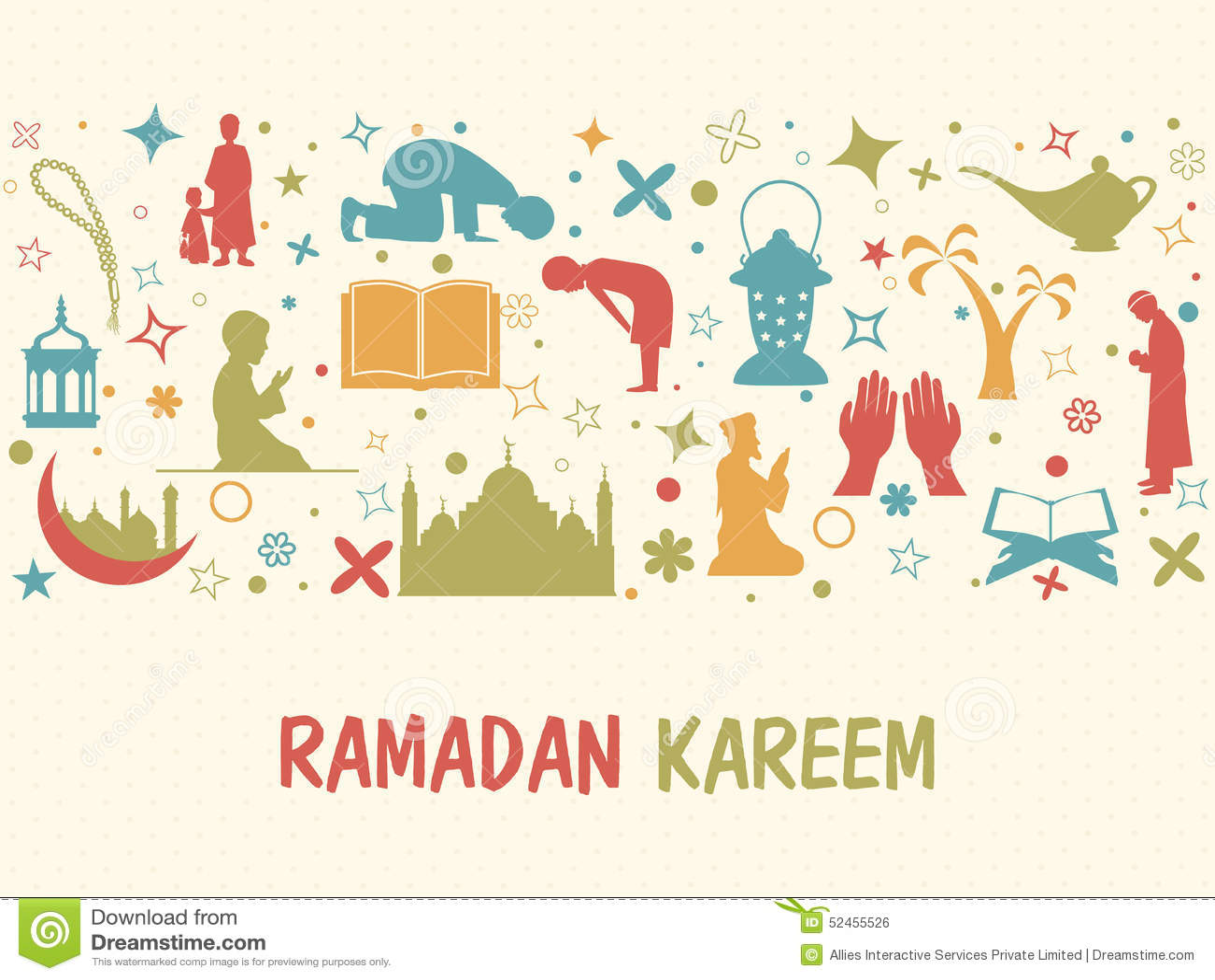 Various Islamic Elements For Ramadan Kareem Celebration. Stock ...